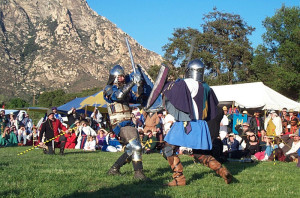 Armored knights compete at a living history tournament - Photos © 2001 Ray Ford