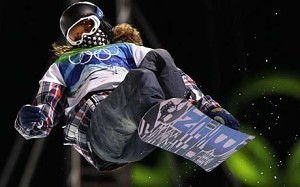Shaun White in the Winter Olympic 2010 snowboard competition